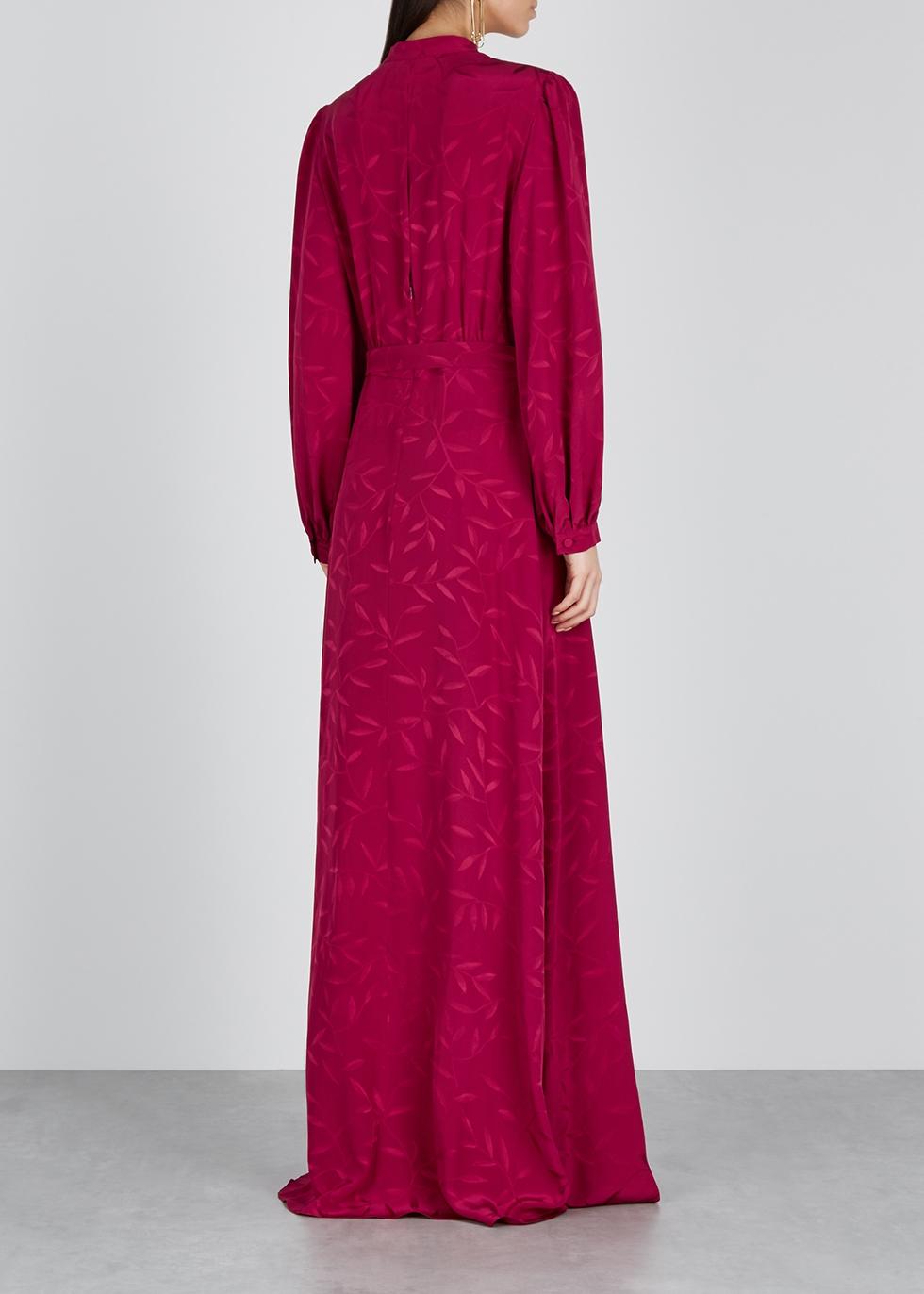 Armonia bordeaux silk jacquard dress - Raquel Diniz