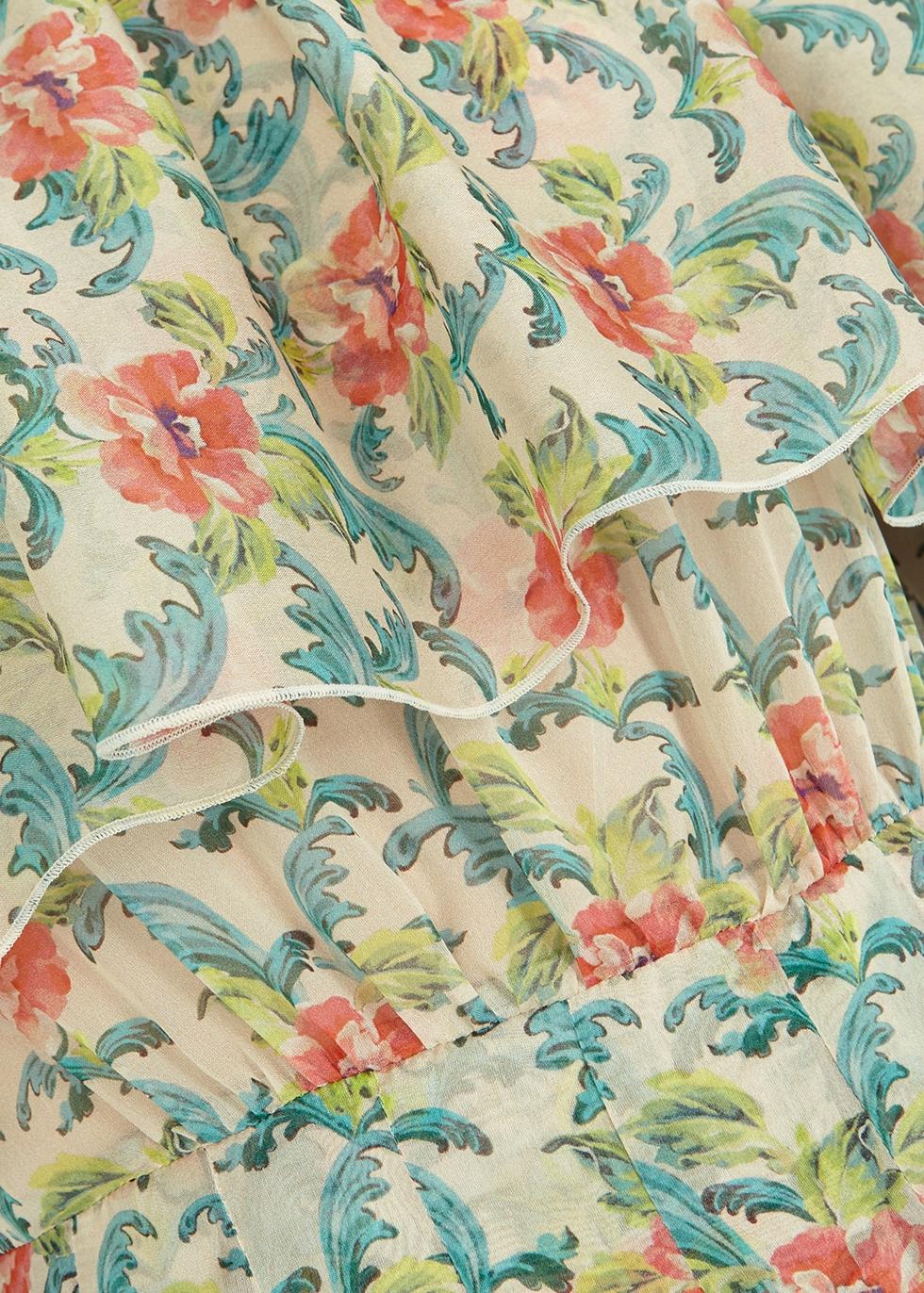 Floral-print silk-chiffon dress - Raquel Diniz