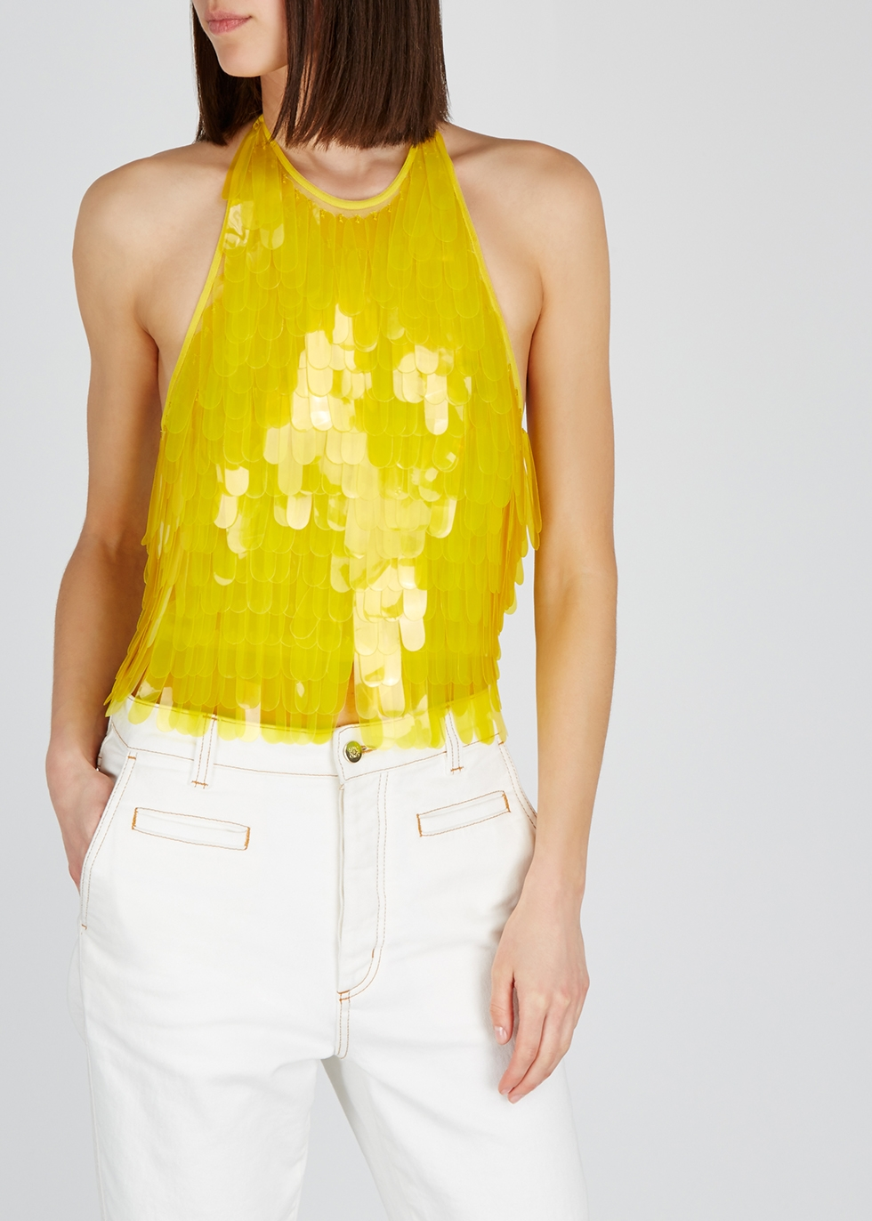 Yellow paillette-embellished mesh top - Dries Van Noten