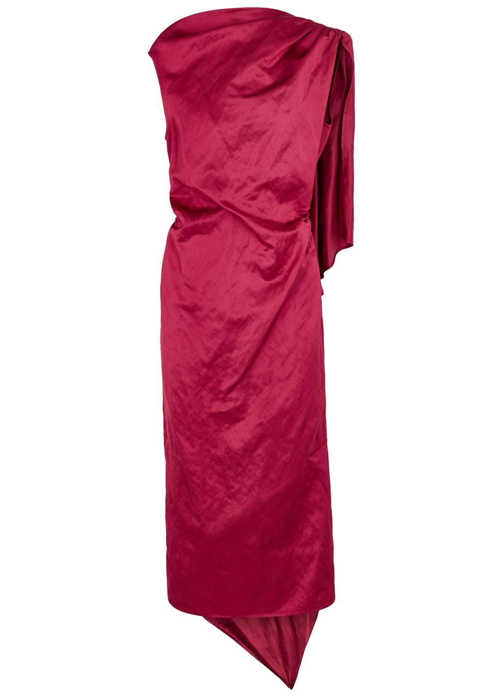 Diala red satin midi dress - Dries Van Noten