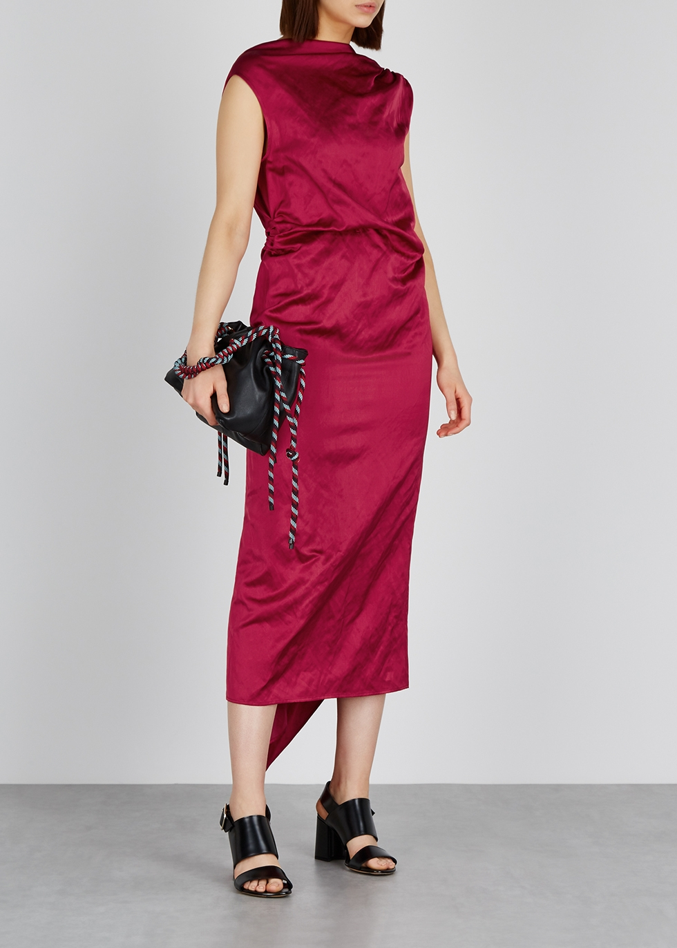 Diala red satin midi dress - Dries Van Noten