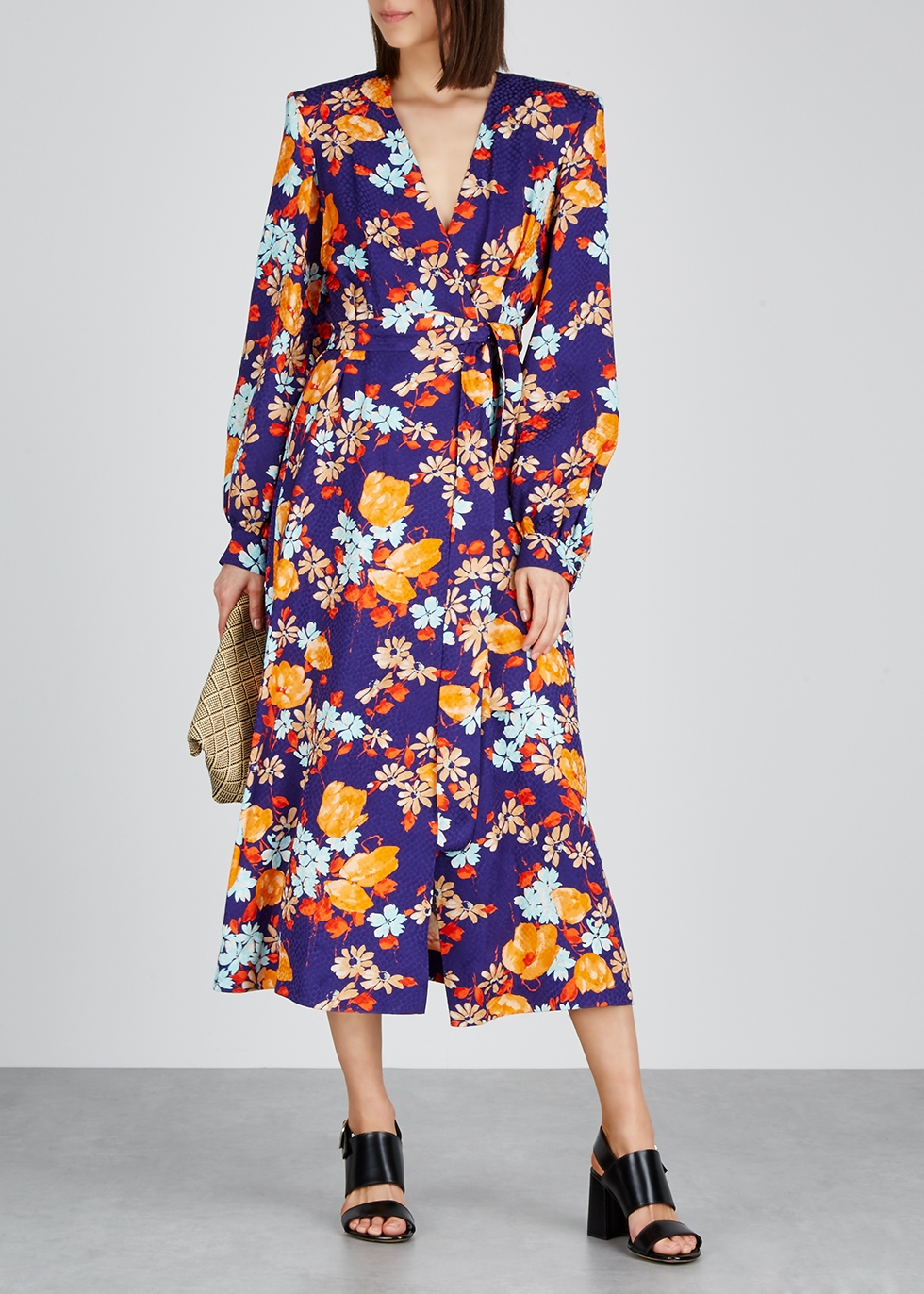 Dove floral-print jacquard midi dress - Dries Van Noten