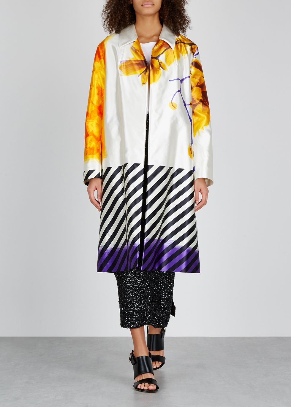 Ramona printed cotton and silk-blend coat - Dries Van Noten