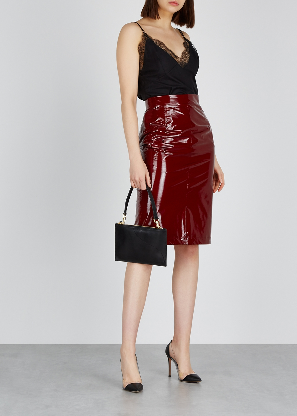 Burgundy silk and PVC pencil skirt - No.21