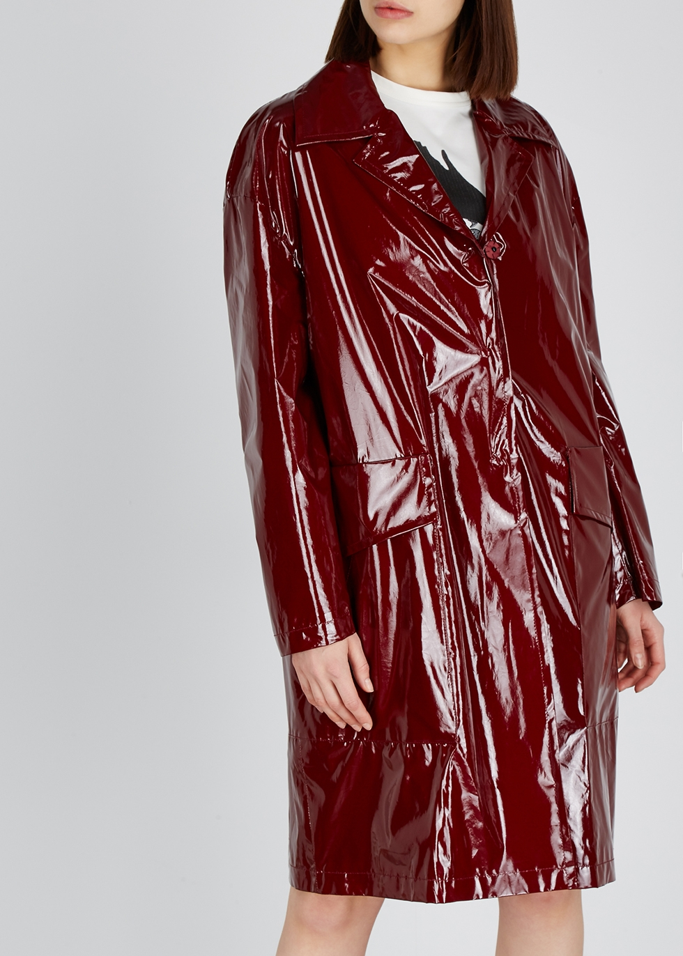 Burgundy silk and PVC coat - No.21