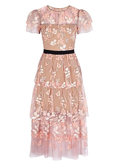 e63dd8b66213 Self-Portrait Pink embellished tulle dress - Harvey Nichols