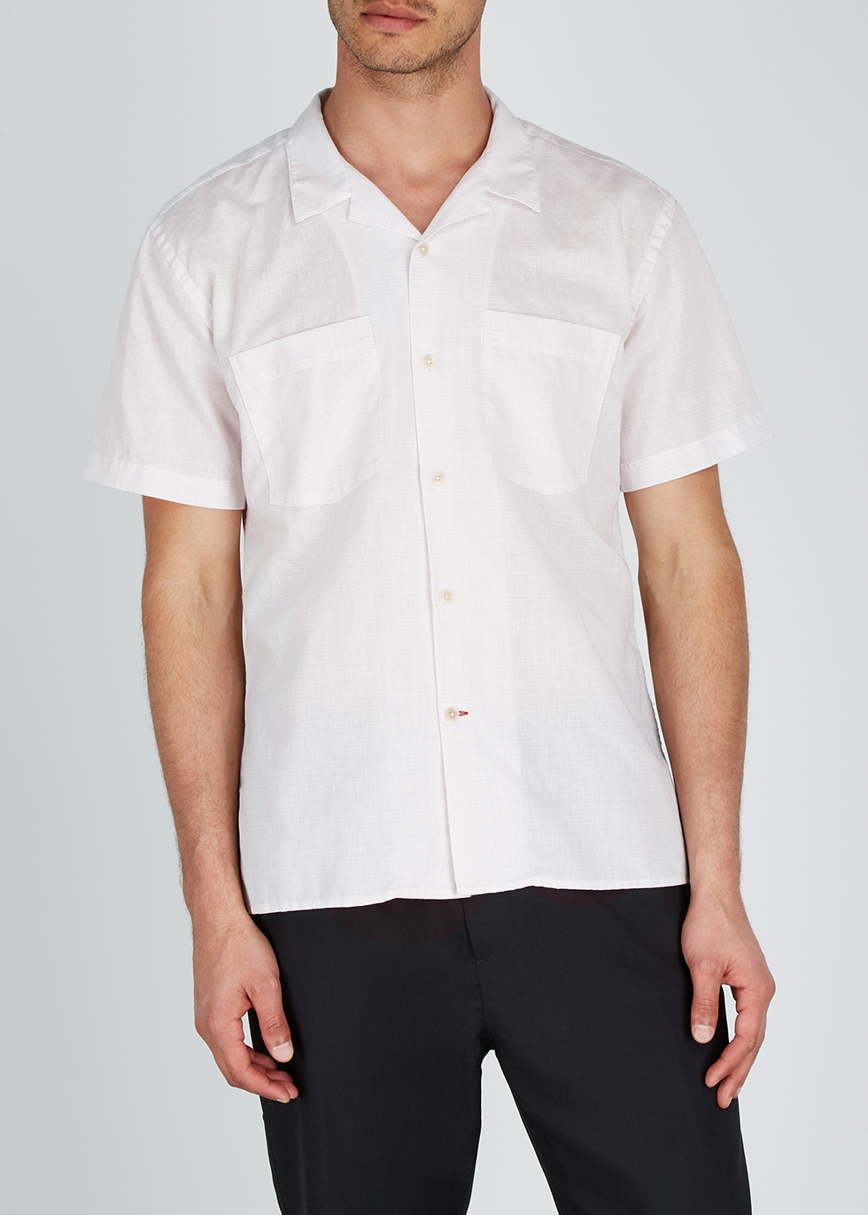 Ivory checked cotton-blend shirt - Oliver Spencer