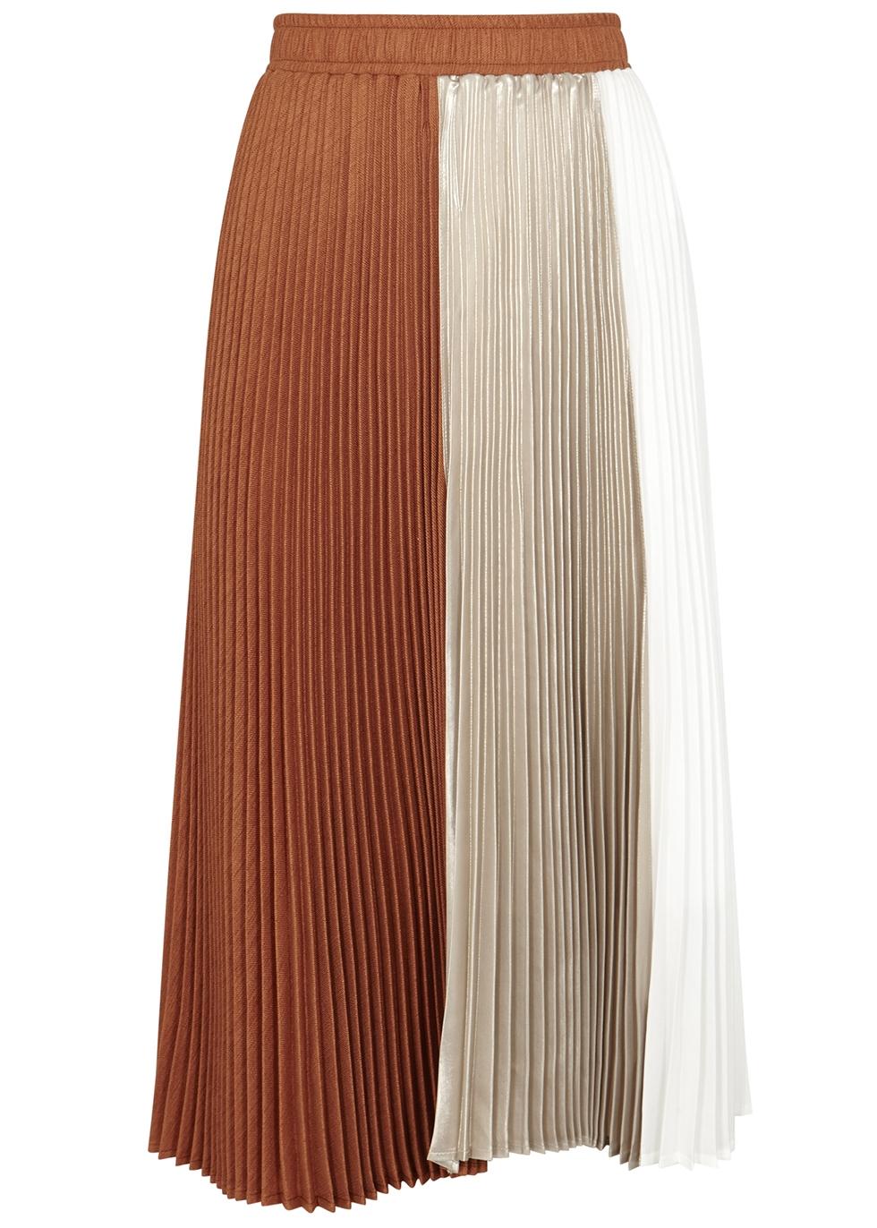 Colour-block pleated satin midi skirt - Clu