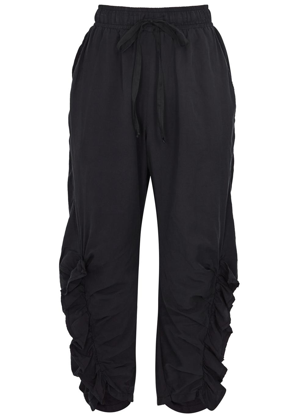 Navy cropped silk-blend sweatpants - Clu