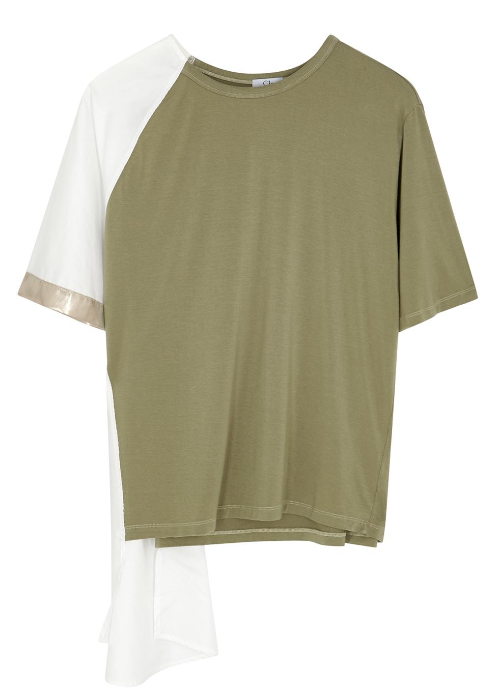 Olive asymmetric Tencel T-shirt - Clu