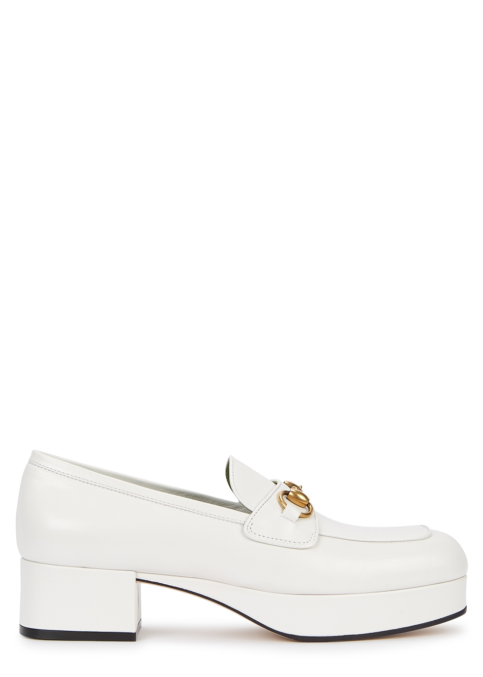 45 White Platform Leather Loafers by Gucci