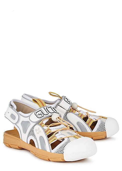 f5ad0d84783 Gucci Tinsel mesh and leather sandals - Harvey Nichols