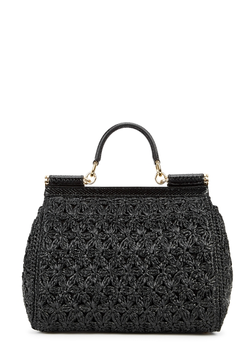 b350284abd3b Dolce   Gabbana Miss Sicily black raffia top handle bag - Harvey Nichols