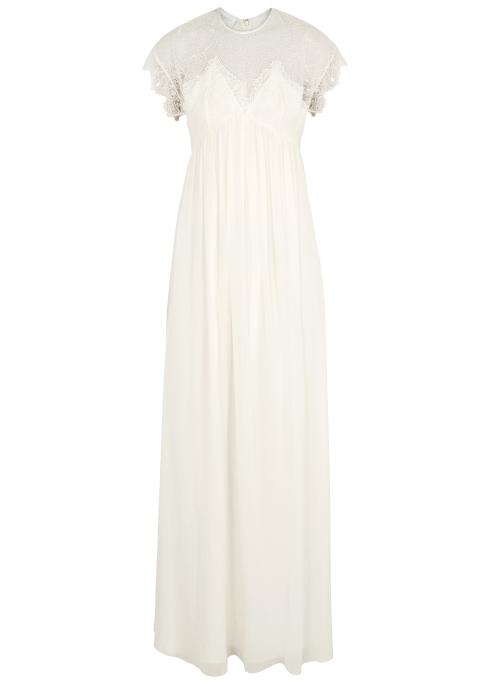 507d06e66d575 Giambattista Valli Cream lace-trimmed silk chiffon gown - Harvey Nichols