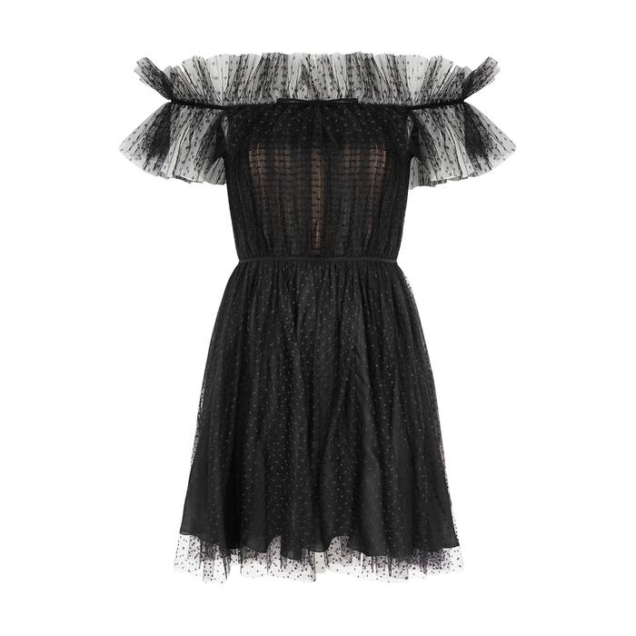 Giambattista Valli Dresses Black open-shoulder point d'esprit mini dress