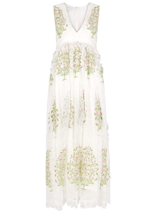 0261460169b Giambattista Valli Floral-embroidered lace maxi dress - Harvey Nichols