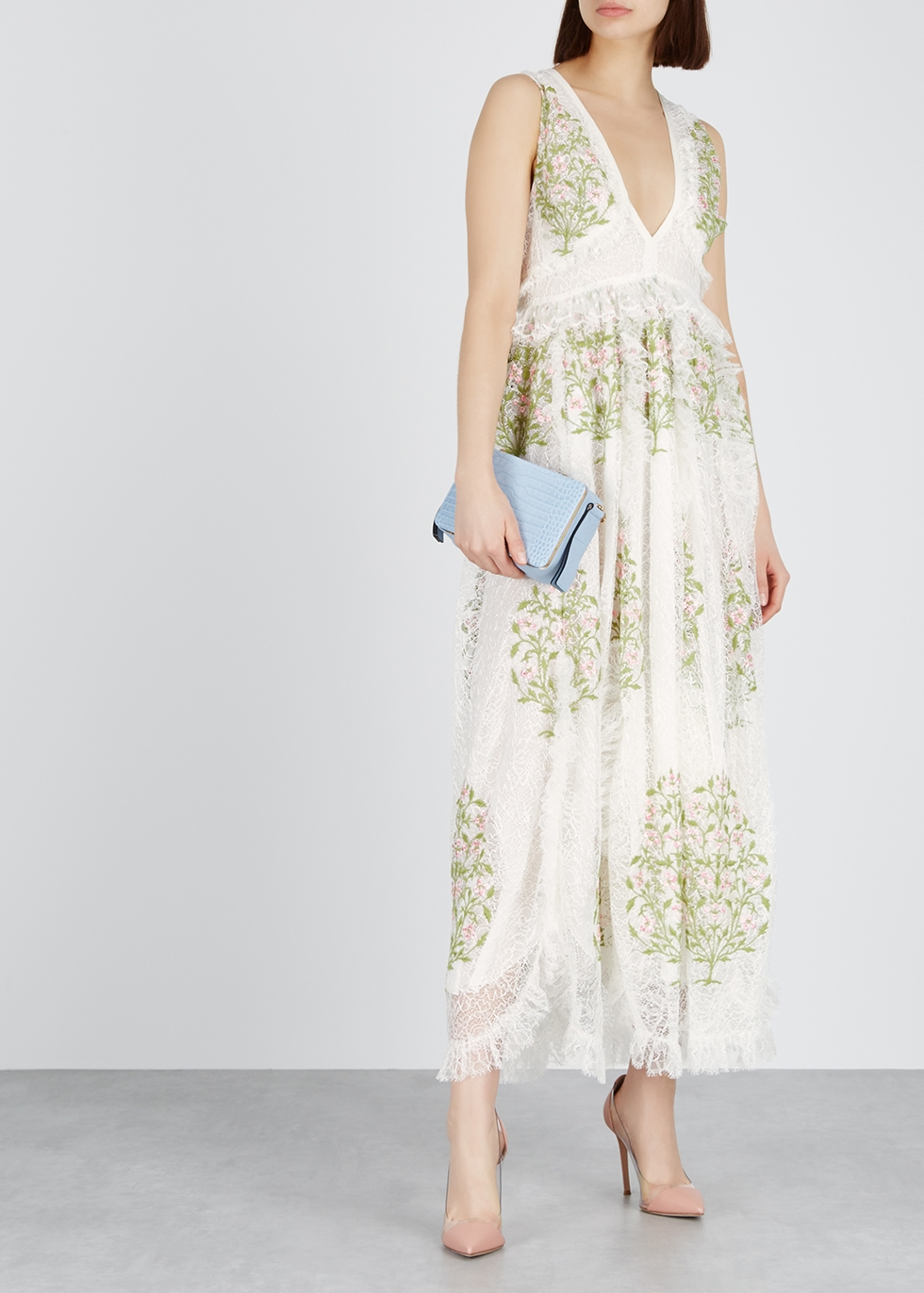 Floral-embroidered lace maxi dress - Giambattista Valli