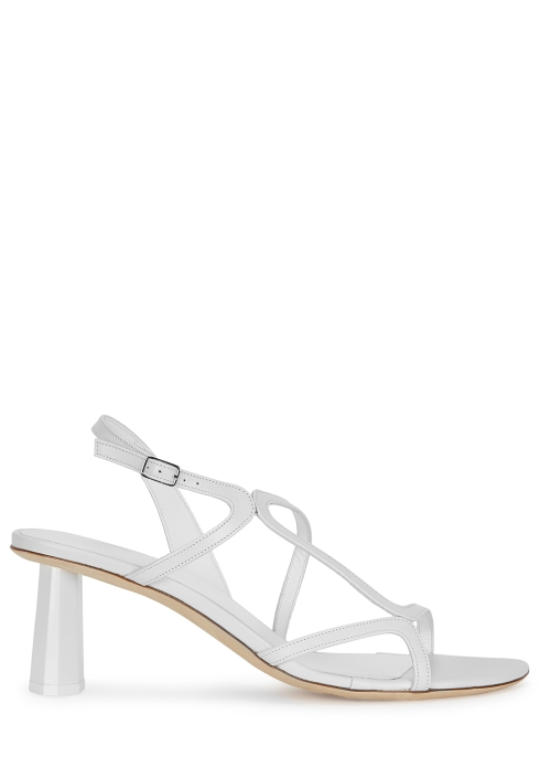 1402e29a422 by FAR Brigette 65 white leather sandals - Harvey Nichols