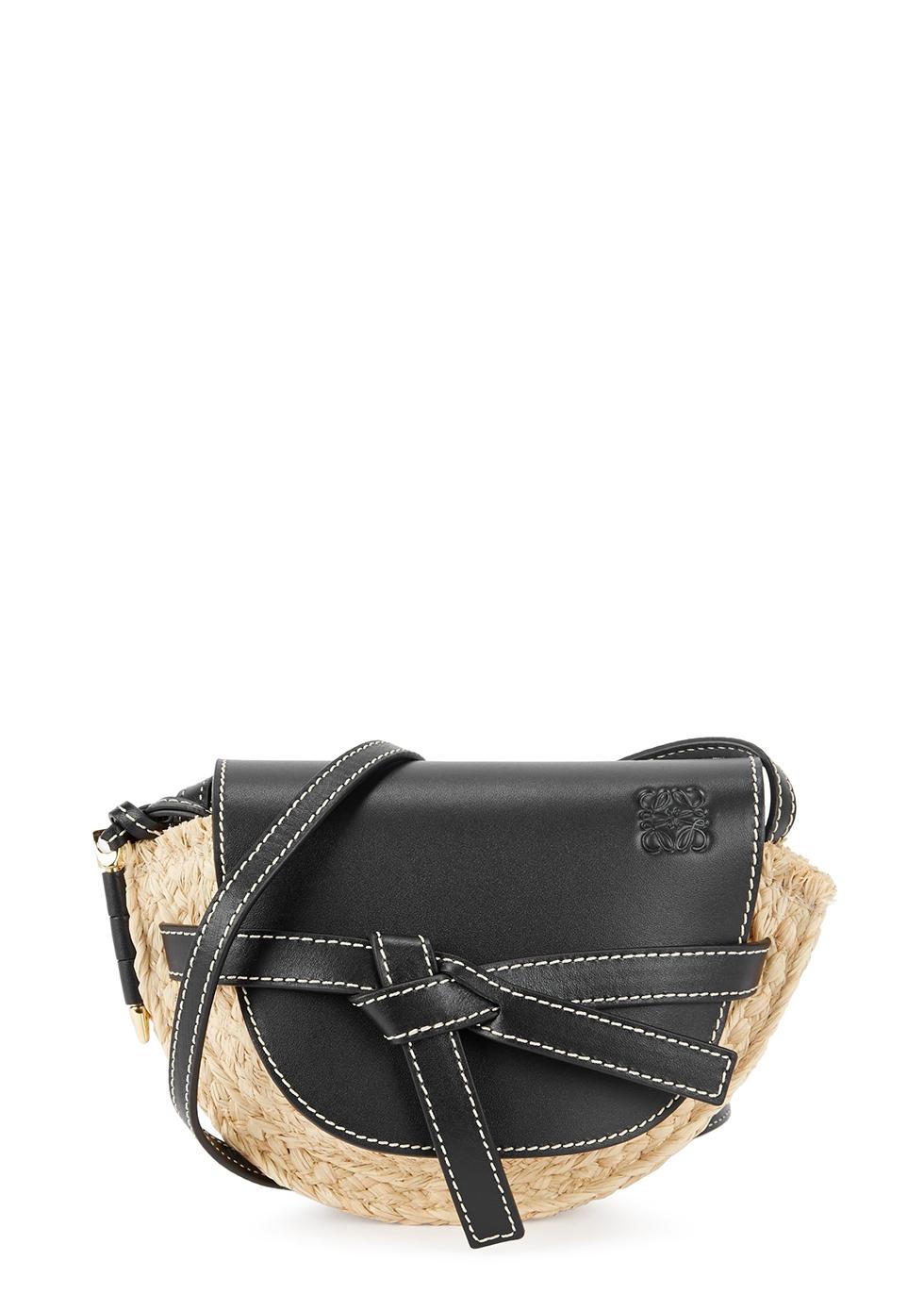 Bag Leather Loewe Harvey Mini Raffia Saddle Nichols And Gate vESwY