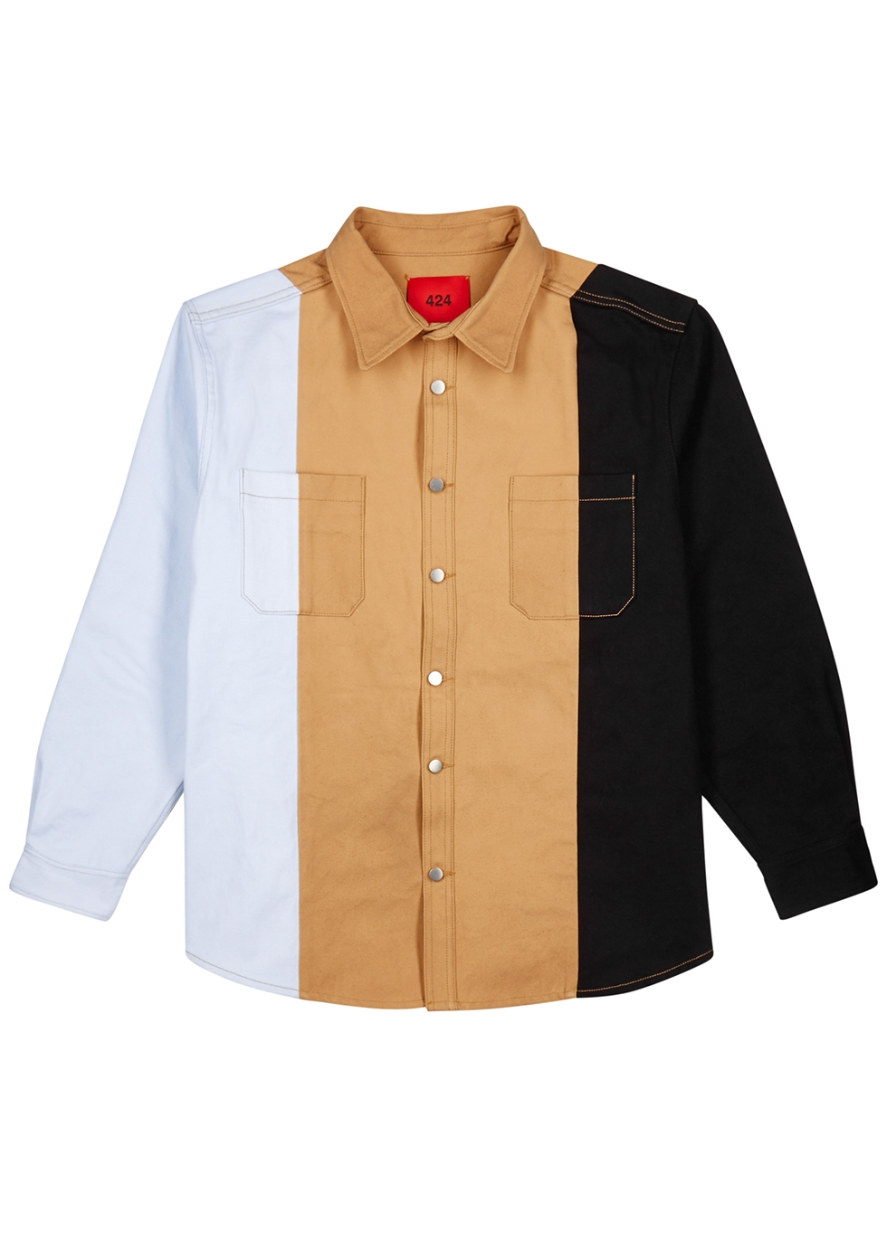 Panelled cotton twill shirt - FourTwoFour