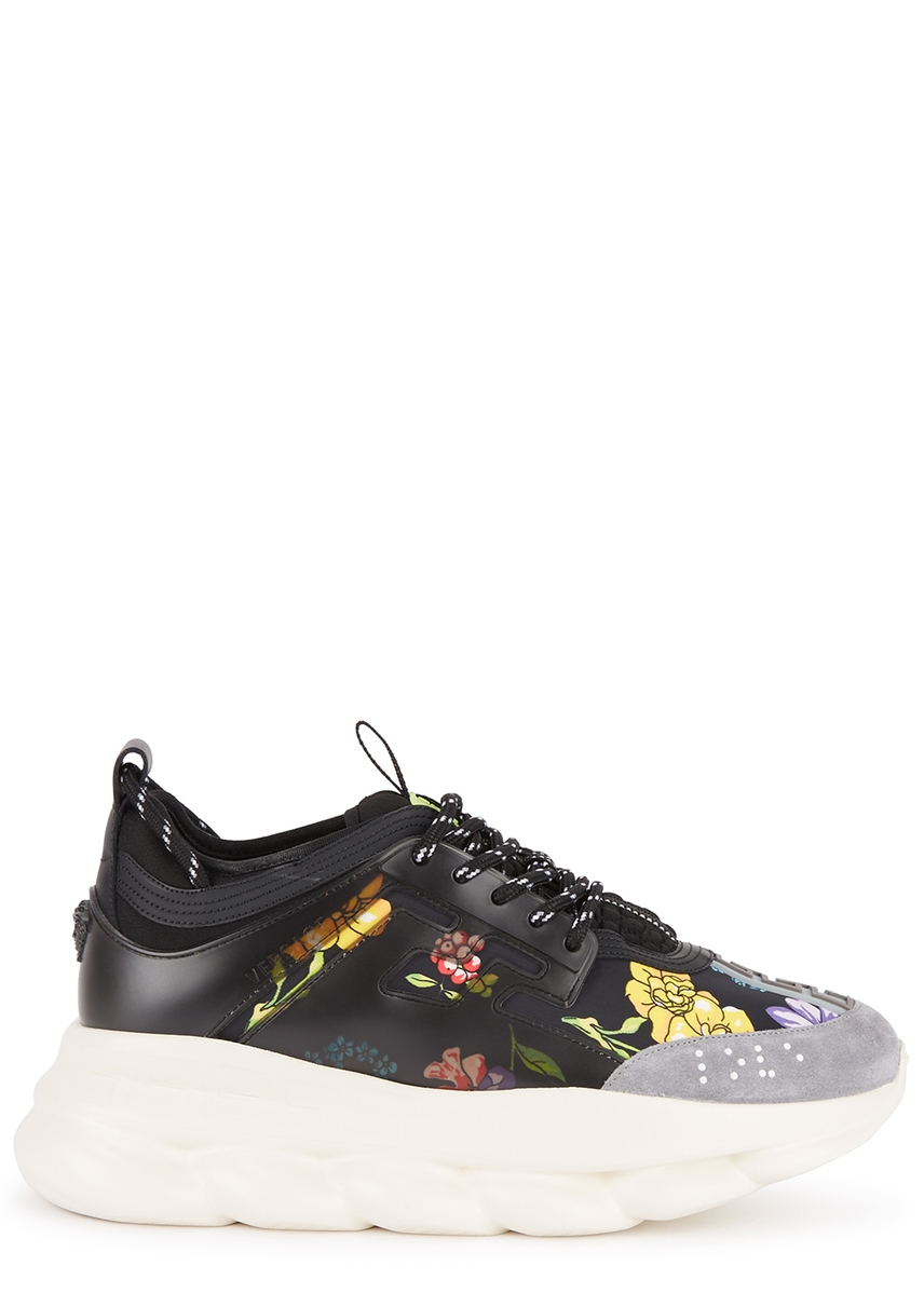 b7a15edcc Chain Reaction floral-print trainers ...