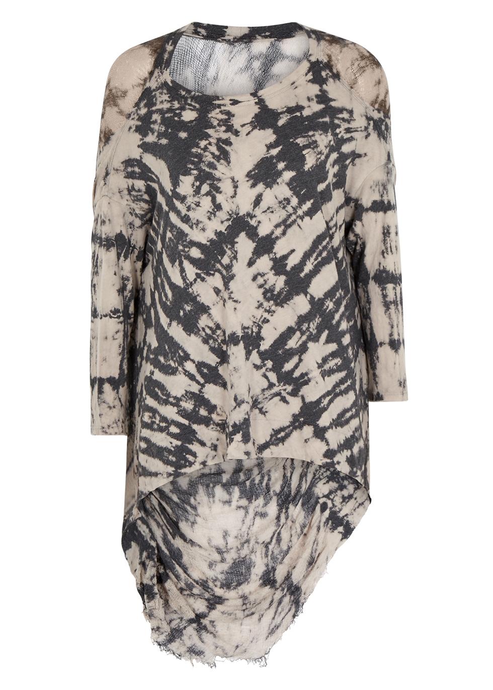 Charcoal tie-dye cotton-blend T-shirt - RAQUEL ALLEGRA