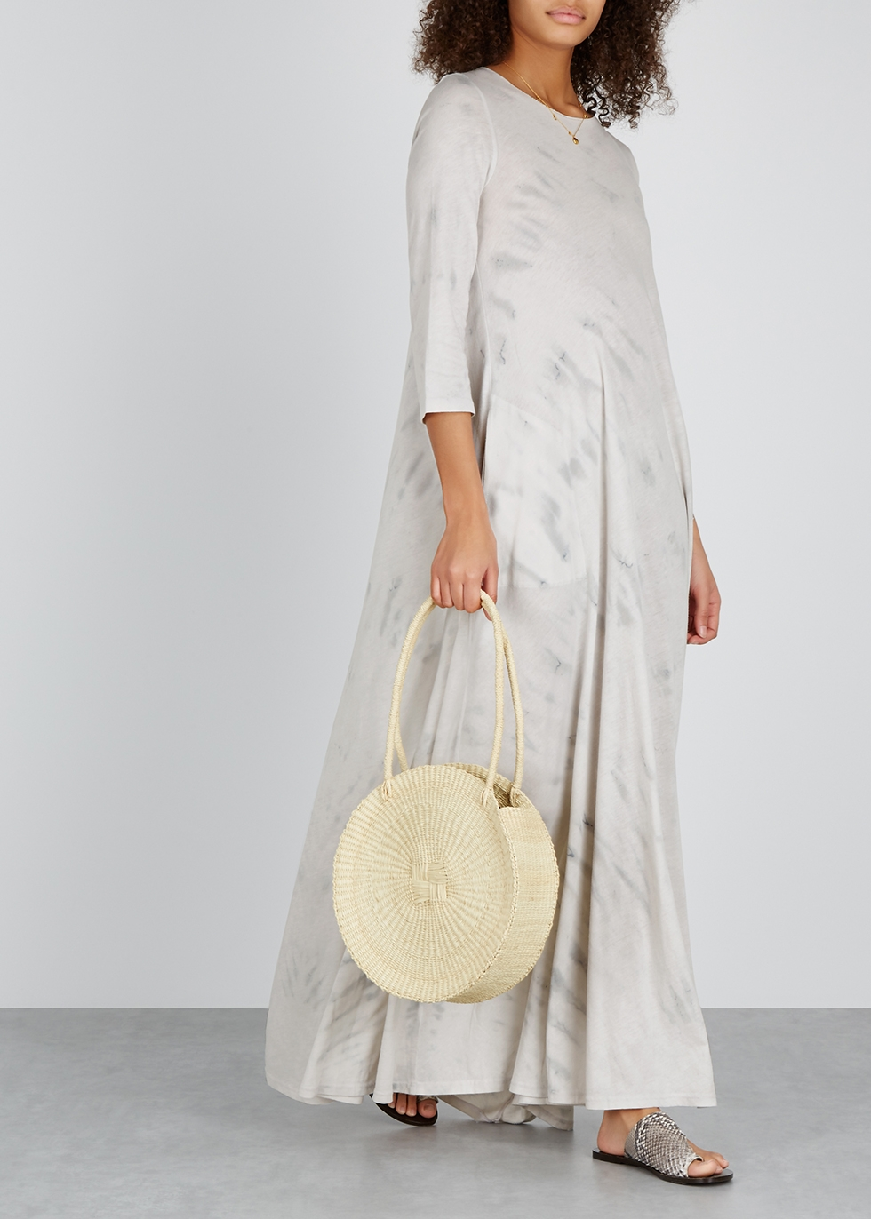 Light grey tie-dye jersey maxi dress - RAQUEL ALLEGRA