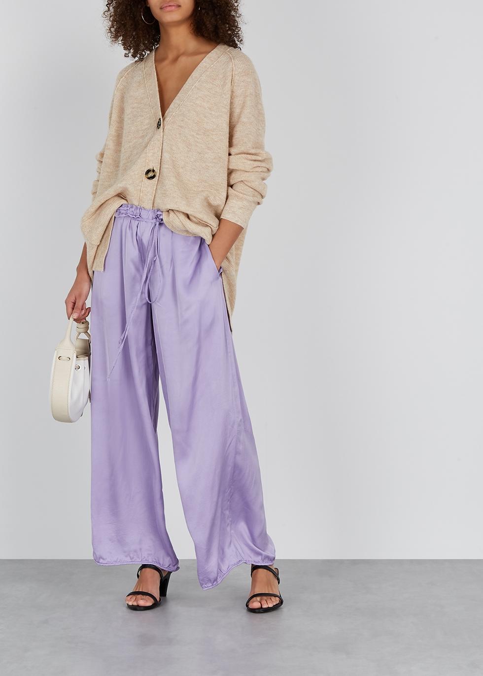 Lilac wide-leg satin trousers - RAQUEL ALLEGRA