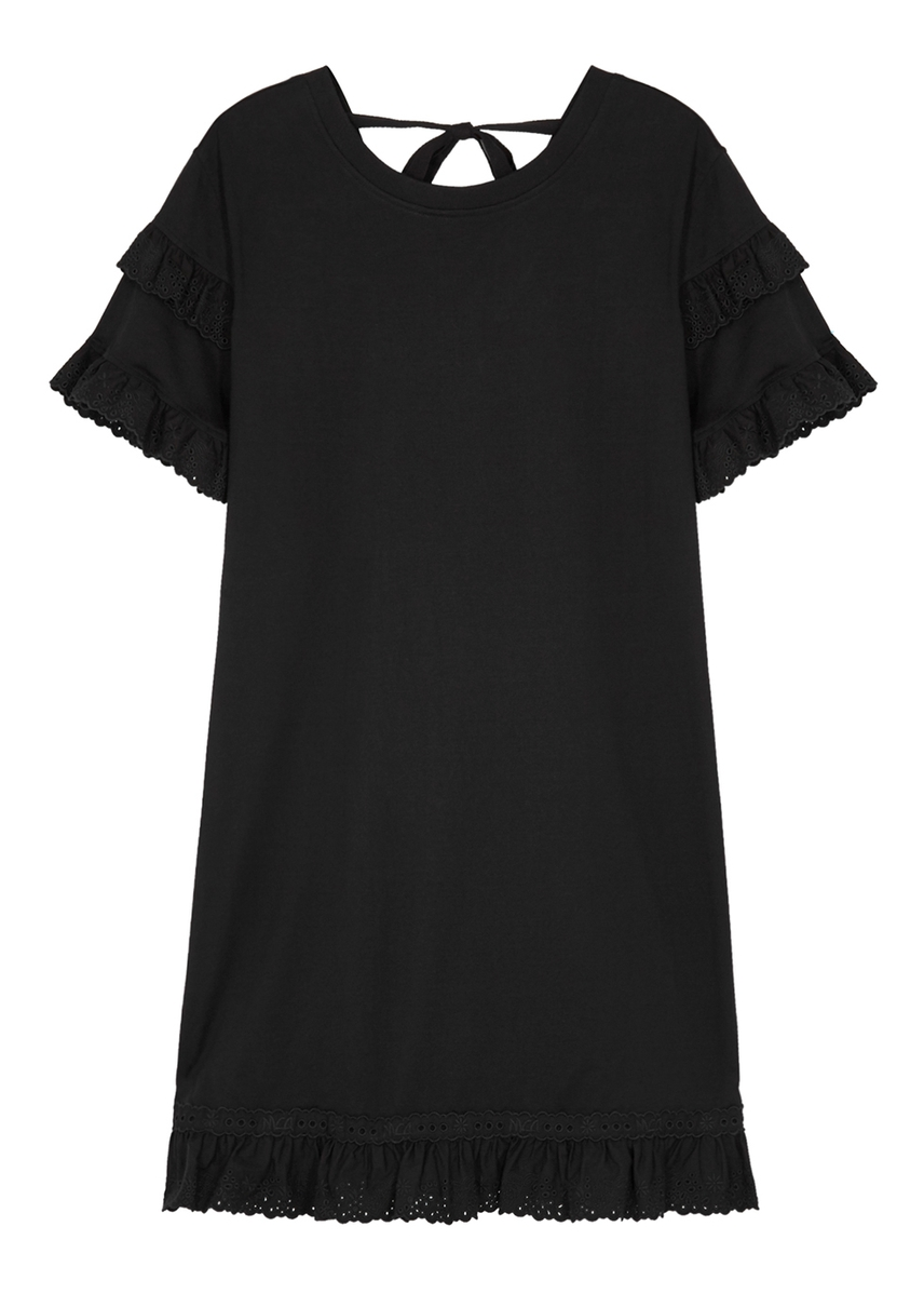 a13ea750c64ae Black ruffle-trimmed jersey dress Black ruffle-trimmed jersey dress. New  Season. McQ Alexander McQueen