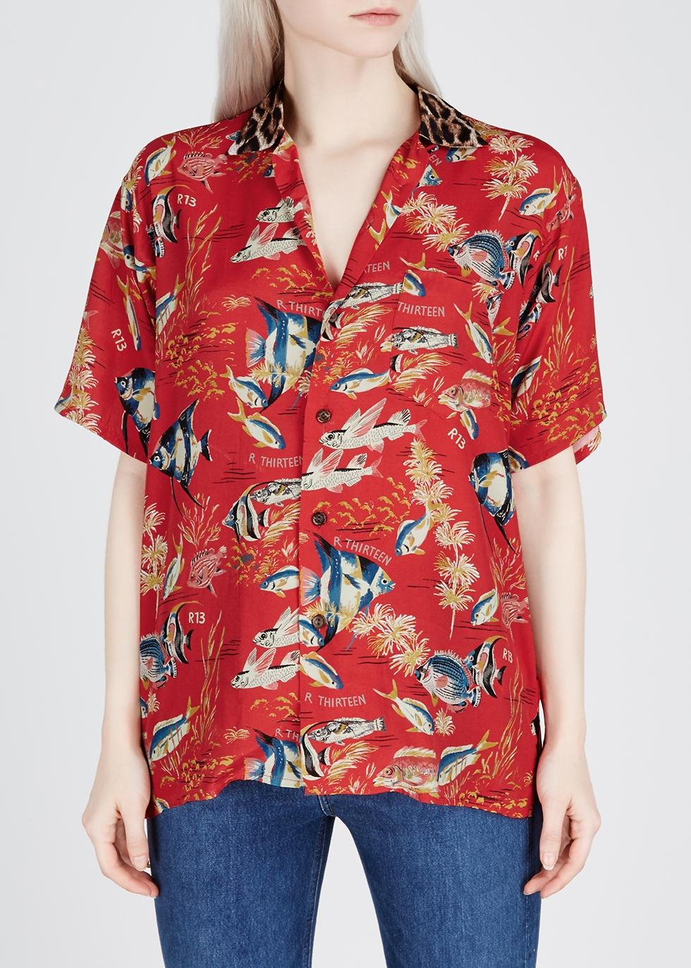 Red printed brushed satin shirt - R13