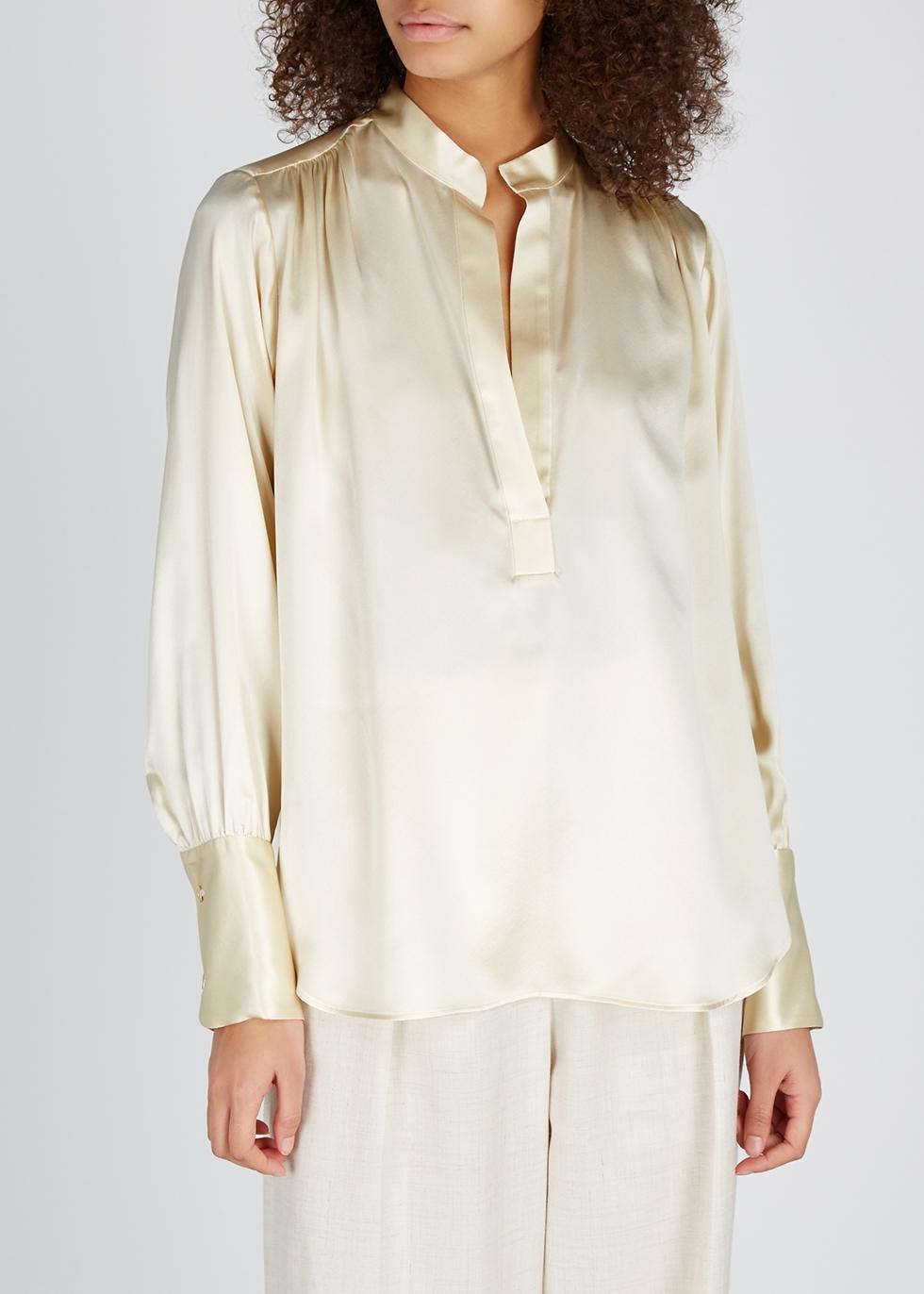 Colette champagne silk-satin blouse - Nili Lotan