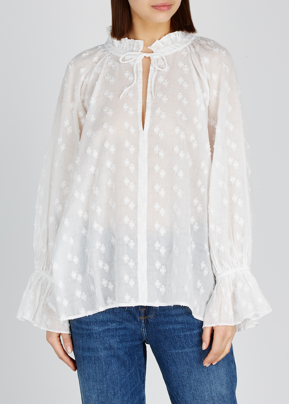 Thelina fil coupé cotton blouse - Nili Lotan