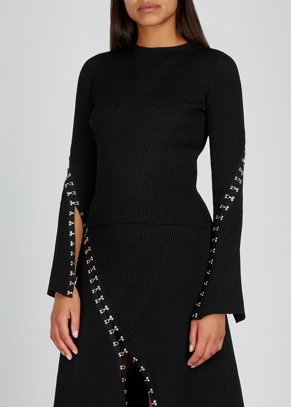 Black hook-embellished knitted jumper - Alexander McQueen