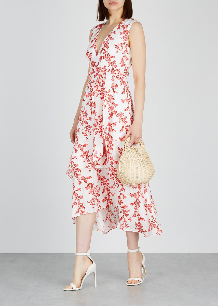5091c7cc8d9d ... Fallen floral-print linen midi dress. New In. KEEPSAKE