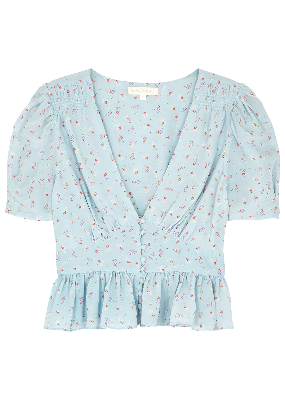 Steph floral-print light blue silk top - LoveShackFancy
