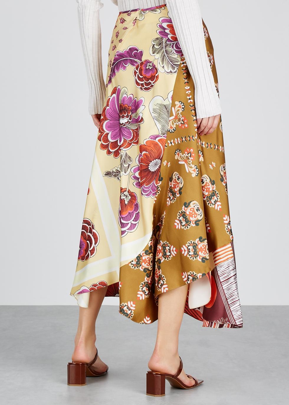 Contrast-print silk twill skirt - Chloé
