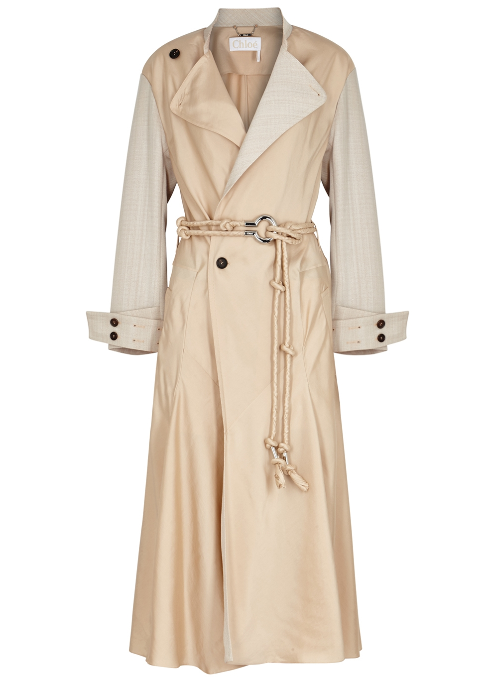 Flou sand satin-twill trench coat - Chloé