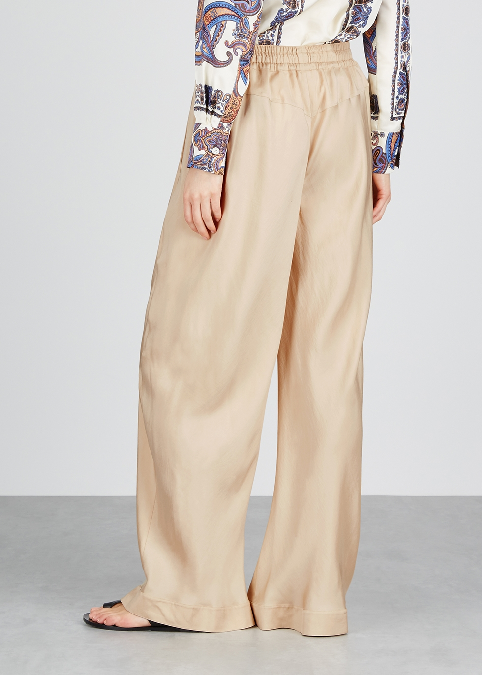 Sand satin wide-leg trousers - Chloé