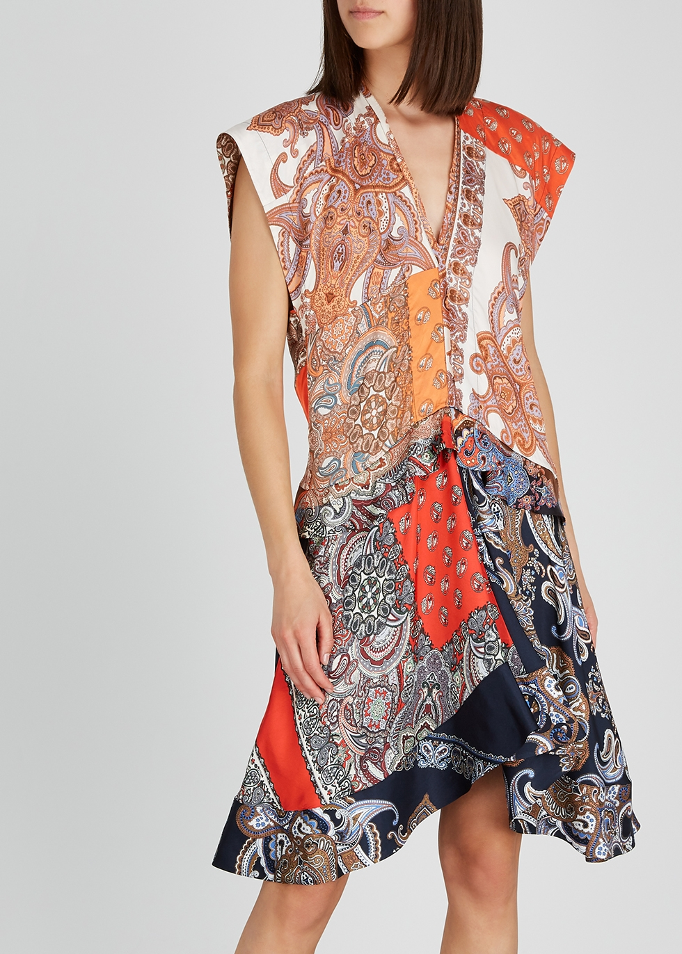 Paisley-print satin dress - Chloé