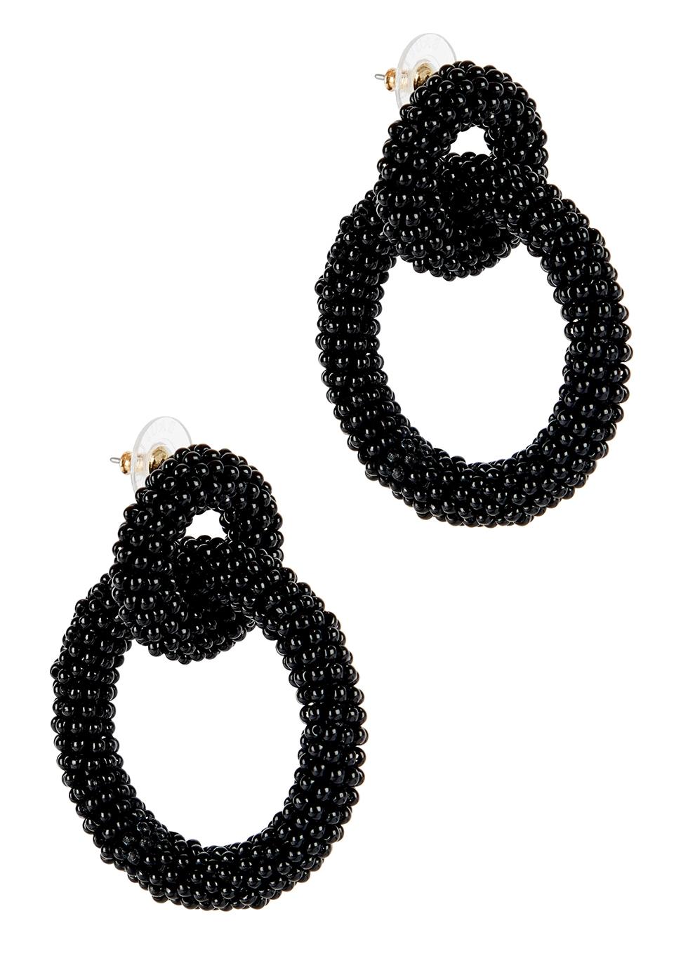 Emma black beaded hoop earrings - Baublebar