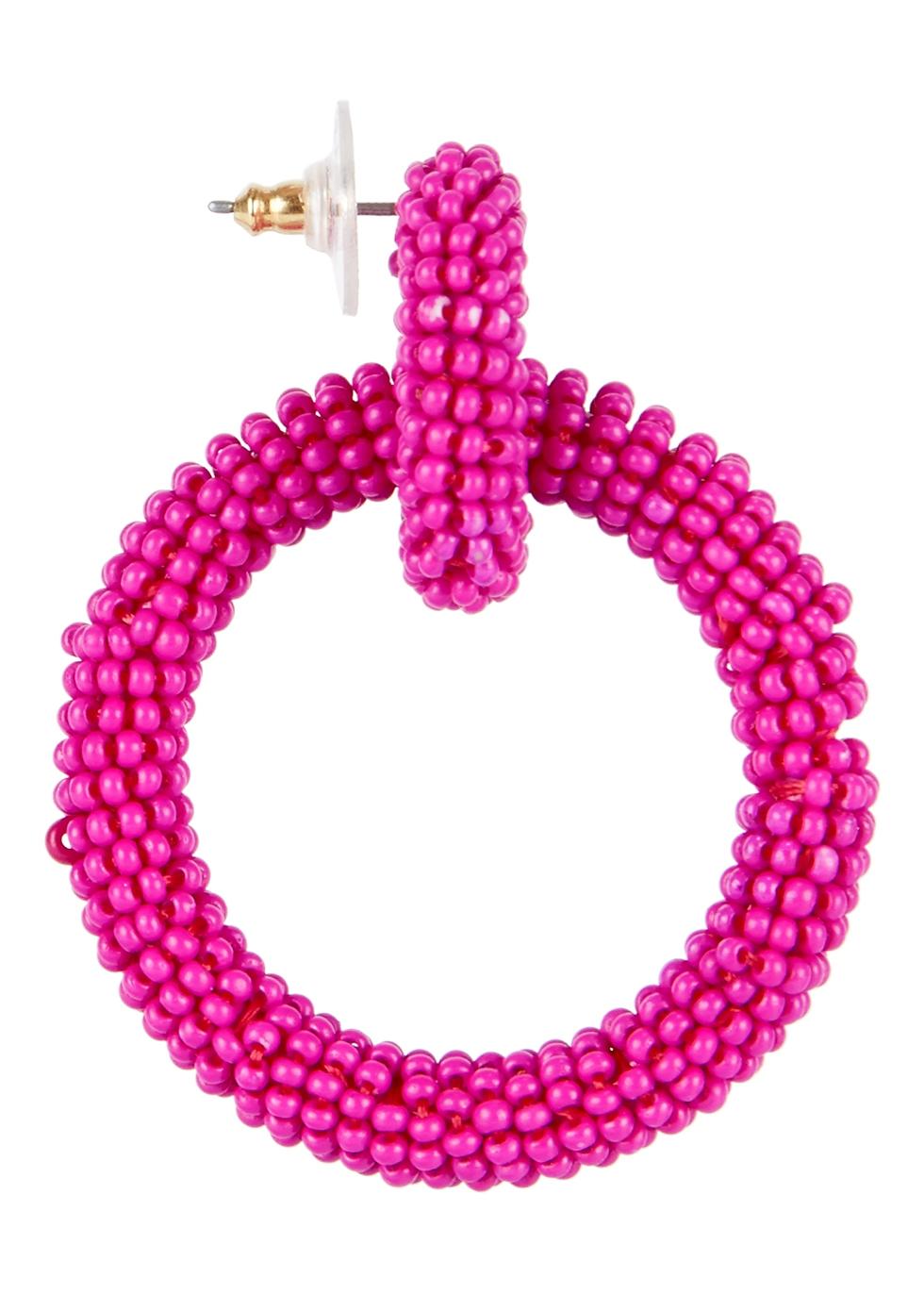 Emma fuschia beaded hoop earrings - Baublebar