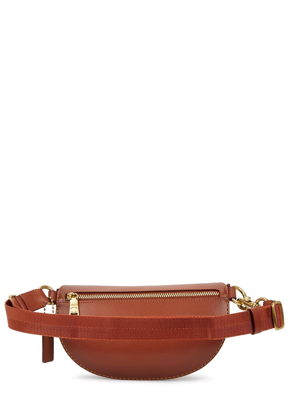 Brown monogrammed leather belt bag - Coach