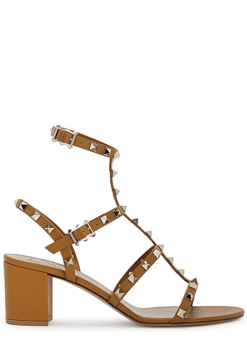 704c516805951 Valentino Garavani Rockstud 60 brown leather sandals - Harvey Nichols