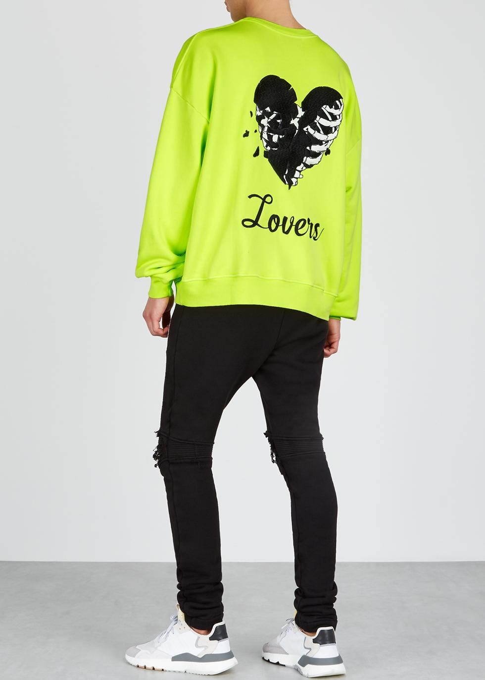 Lovers neon yellow cotton sweatshirt - Amiri