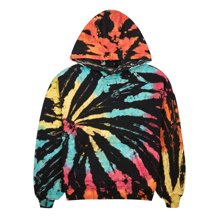 Amiri T-shirts Tie-dye hooded cotton sweatshirt