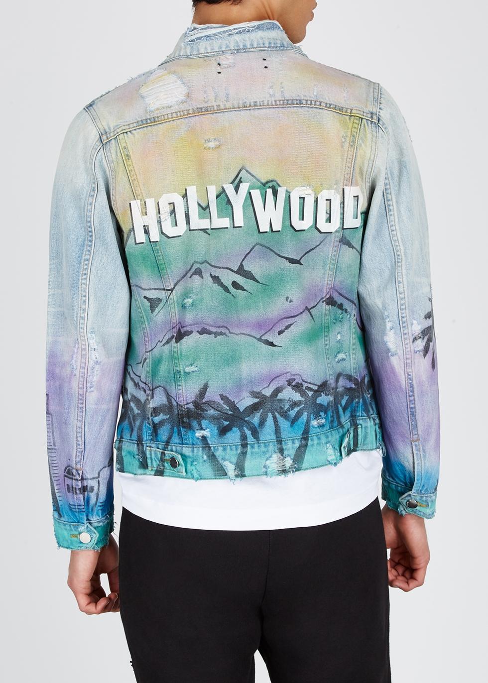 Hollywood-print denim jacket - Amiri