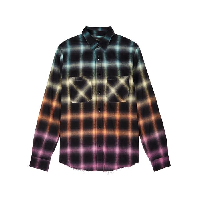 Amiri T-shirts Checked brushed cotton-blend shirt