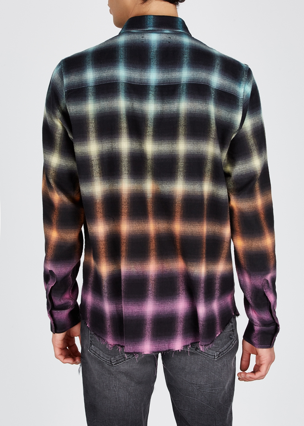 Checked brushed cotton-blend shirt - Amiri