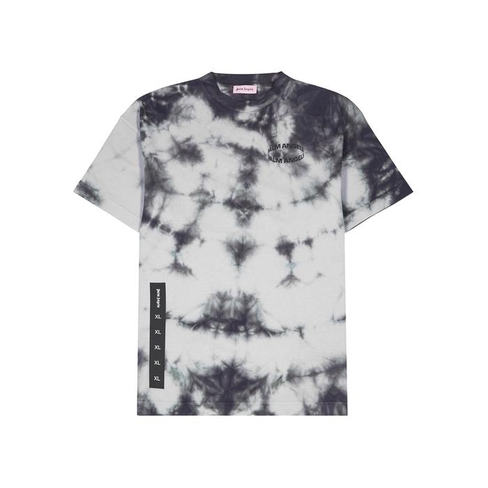 Palm Angels T-shirts Grey tie-dye cotton T-shirt