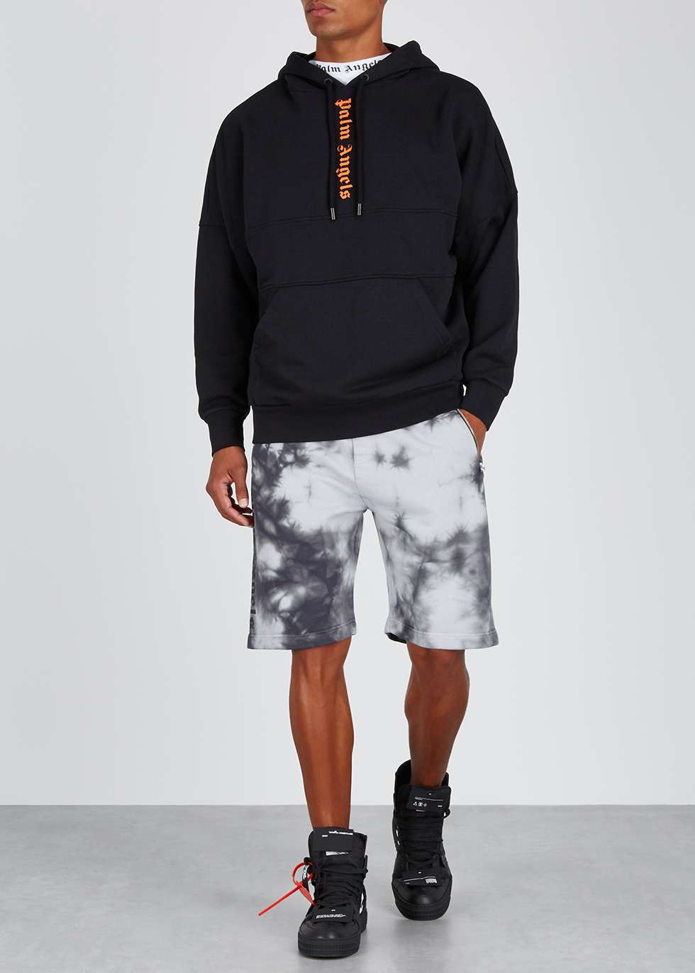 Grey tie-dye cotton shorts - Palm Angels